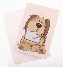 Card (Dog) : Printed Card with dog, envelope included. (2.5 x 3.25 inchs)Writed by hand.