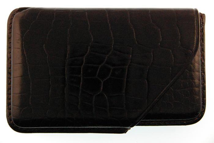 Porte Cartes De Visite Mignon Serie Croco Savannah Noir