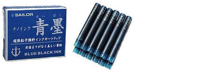 Sailor Ink cartridge, Refill & ink serie Blue-black Pigmented ink