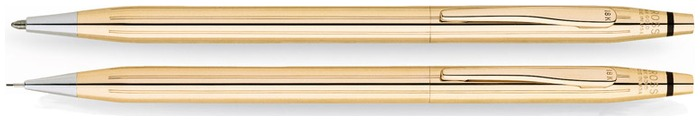 Cross Set ballpoint & pencil (0.7mm), Classic Century series Solid Gold 18kt