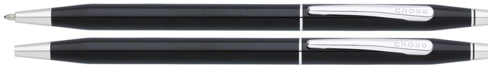 Cross Set ballpoint & pencil (0.7mm), Classic Century series Black Lacquer CT