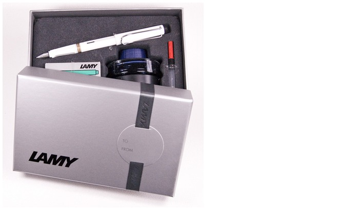Lamy Fountain pen set, Safari series White Chrome Clip