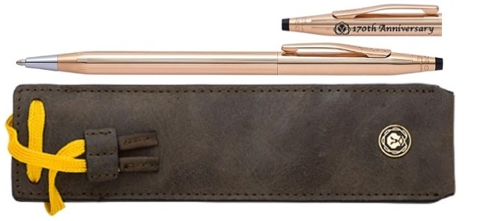 Cross Ballpoint pen, Classic Century 170th Anniversary series 14kt gold with leather pen pouch