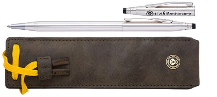 Cross Ballpoint pen, Classic Century 170th Anniversary series Silver with leather pen pouch