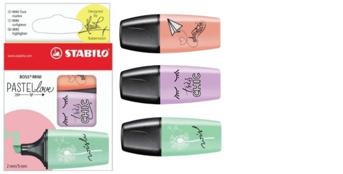 Stabilo Highlighter, Boss Mini Pastel love series Mint/Peach/Lilac ink (Pack of 3)