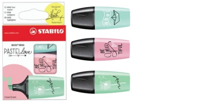 Stabilo Highlighter, Boss Mini Pastel love series Mint/Pink/Turquoise ink (Pack of 3)