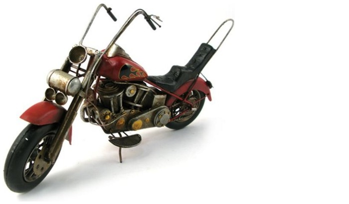 Splash Decorative object, Antique series Red Chopper Motorcycle
