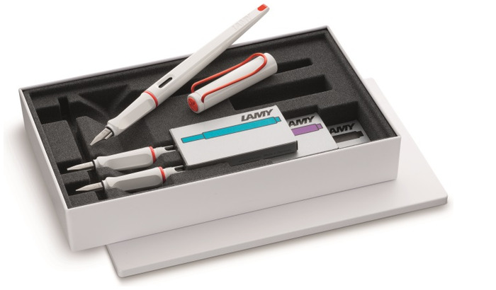 Lamy Fountain pen set, Joy series White with red clip