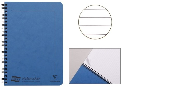 Clairefontaine (A5) Wirebound notebook, Europa series Blue (148 mm x 210 mm, lined)