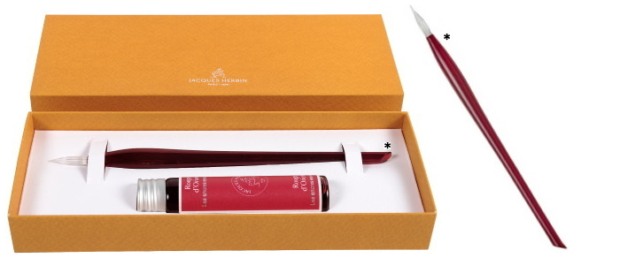 Jacques Herbin Glass pen & ink bottle set Red