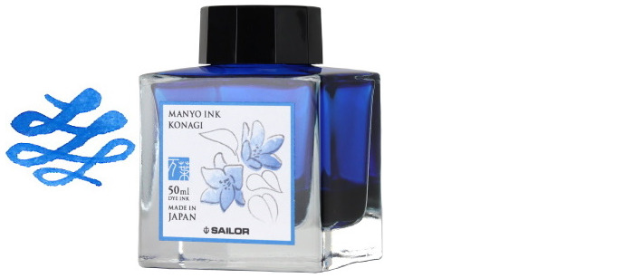 Sailor ink bottle, Manyo series Blue ink (Konagi)- 50ml