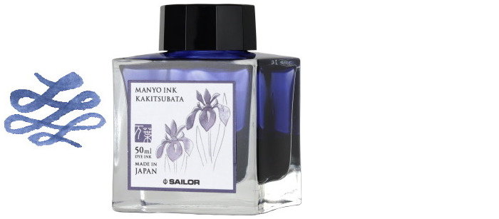 Sailor ink bottle, Manyo series Midnight blue ink (Kakitsubata)- 50ml