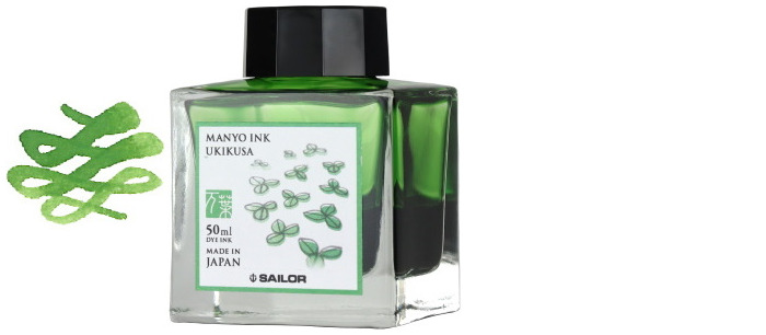 Sailor ink bottle, Manyo series Light green ink (Ukikusa)- 50ml