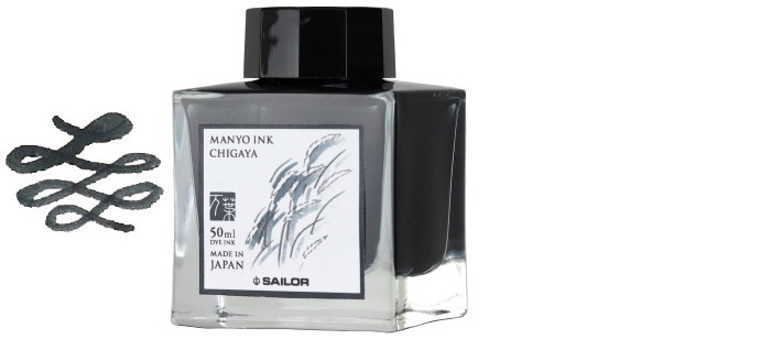Sailor ink bottle, Manyo series Dark gray ink (Chigaya)- 50ml