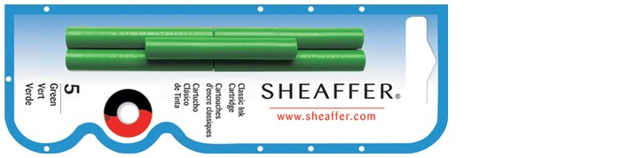 Sheaffer Ink cartridge, Refill & ink series Green ink